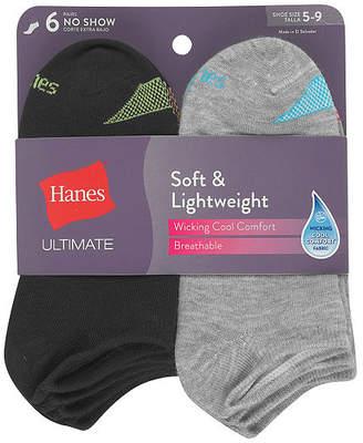 Hanes 6 Pair No Show Socks - Womens