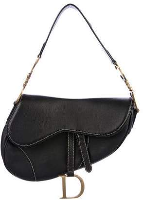 Christian Dior Grained Leather Saddle Bag