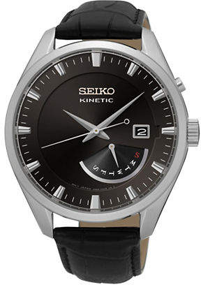 Seiko Analog Kinetic Stainless Steel Leather Strap Watch