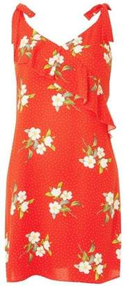 Dorothy Perkins Womens Red Ruffled Floral Print Sundress