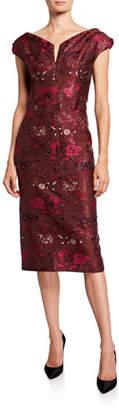 Zac Posen Shimmer Cap-Sleeve Dress