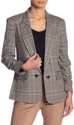 1 STATE 1.State Ruched Sleeve Plaid Blazer