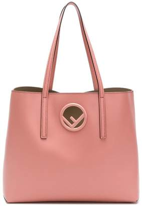 Fendi pink logo leather shopper bag