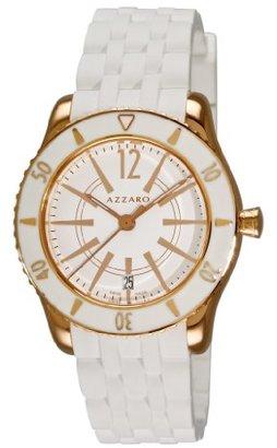 Azzaro メンズaz2200.52aa。05 a Coastline Rose PVD White Rubber Strap Watch