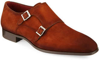 Magnanni Men's Suede Double-Monk Shoe