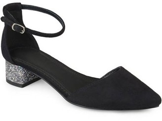Brinley Co. Women's Faux Suede Ankle Strap Pointed Toe Glitter Heels