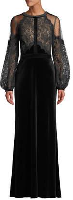 Tadashi Shoji Halter-Illusion Long-Sleeve Lace & Velvet Gown