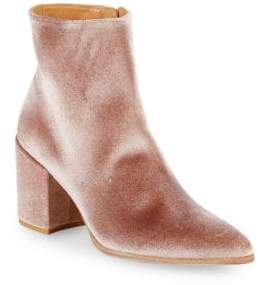 Stuart Weitzman Velvet Point-Toe Booties