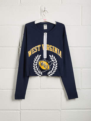 PINK West Virginia University Zip-Front Long Sleeve Campus Tee