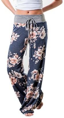 Lucky Star Lilly Posh Women's Floral Drawstring High Waist Wide Leg Pants (X-Large, Grey Waist/Burgundy