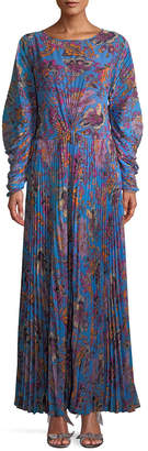 Etro Pleated Floral Maxi Dress