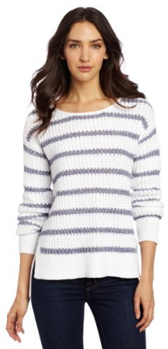 Calvin Klein Jeans Women's Petite Varigated Striped Pullover Sweater