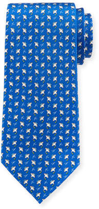 Salvatore Ferragamo Stingrays Silk Tie, Blue