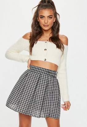 Missguided Black Plaid Buckle Side Mini Skirt