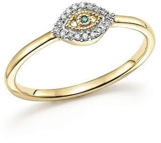 Adina 14K Yellow Gold Super Tiny Pavé White & Blue Diamond Evil Eye Ring