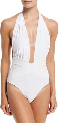 OYE Swimwear Roman Plunge-Neck One-Piece Swimsuit $350 thestylecure.com