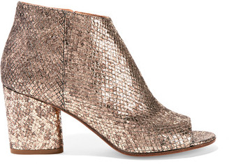Maison Margiela - Metallic Snake-effect Leather Ankle Boots - Gold $885 thestylecure.com