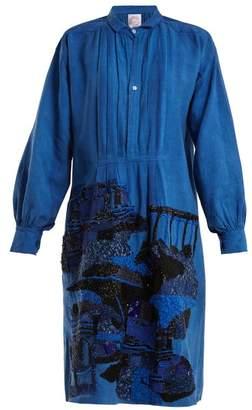 Kilometre Paris - Karimabad Bead Embellished Linen Shirtdress - Womens - Blue Multi