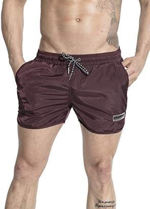 Trunks Neleus Men's Runner Athletic Beach Shorts Swimming with Pockets,708,Burgundy & Red,L,Tag 2XL