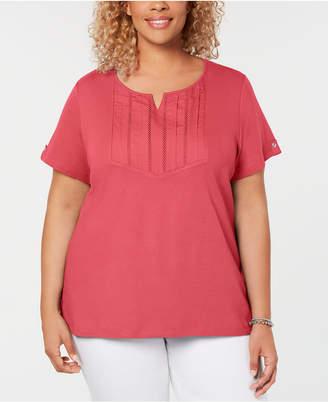 Karen Scott Plus Size Cotton Pleated Split-Neck Top