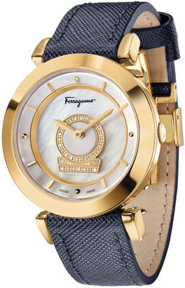 Salvatore Ferragamo 36mm Minuetto Gold IP Diamond-Dial Watch with Blue Leather Strap