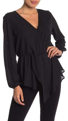 14th & Union Layered Front Faux Wrap Blouse