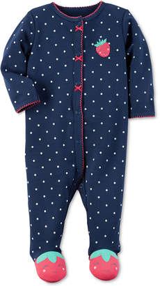 Carter's 1-Pc. Dot-Print Strawberry Footed Coverall, Baby Girls (0-24 months) $16 thestylecure.com