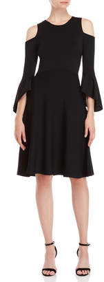 Eliza J Black Cold Shoulder Fit & Flare Dress
