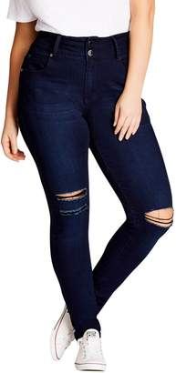 City Chic Harley Ripped High Rise Skinny Jeans