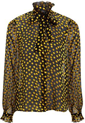 Saloni Emile Sheer Black Polka Dot Blouse