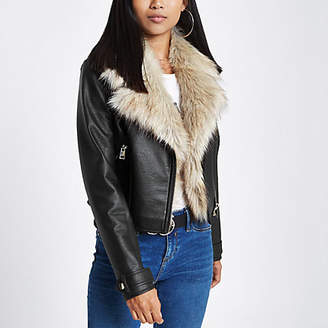 River Island Petite black faux fur trim biker jacket