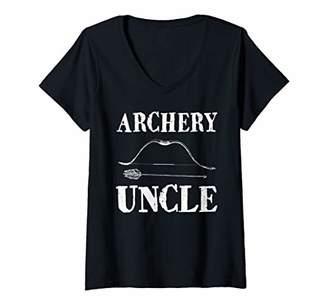 Bow & Arrow Womens Archery Uncle Funny Bow Arrow Sport Hunter V-Neck T-Shirt
