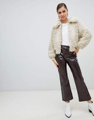 Monki flared patent pants in brown