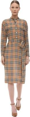Burberry CHECK PRINT SILK SHIRT DRESS