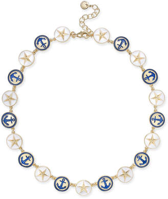 "Charter Club Gold-Tone Enamel Anchor & Star Link Collar Necklace, 17"" + 2"" extender, Created for Macy's"