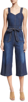 7 For All Mankind Denim Culotte Jumpsuit, Dark Blue $189 thestylecure.com