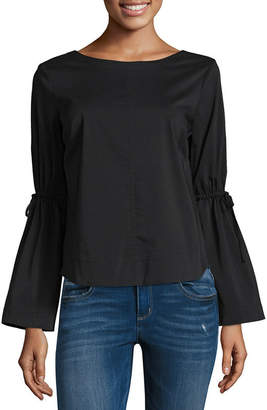 BELLE + SKY Bell Sleeve Tie Back Top