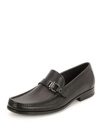 Salvatore Ferragamo Men's Textured Calfskin Side Gancio Loafer, Black