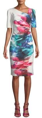 Rickie Freeman For Teri Jon Watercolor Scuba Sheath Cocktail Dress