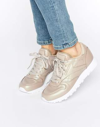 Reebok Classic Leather Sneakers In Gold Pearl