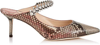 Jimmy Choo BING 65 Rosewood Mix Python Mules with Crystal Strap