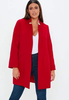Missguided Plus Size Red Inverted Collar Coat