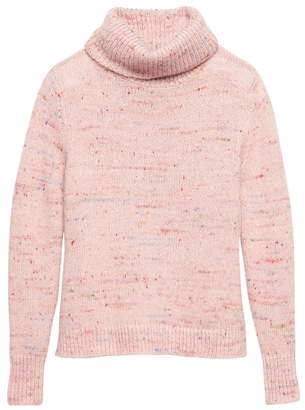 Banana Republic Petite Confetti Wool-Blend Turtleneck Sweater