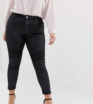 Asos DESIGN Curve Ridley high waisted jeans in black coated with biker knee detail