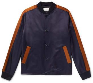 YMC Striped Cotton-Blend Satin Bomber Jacket - Men - Navy