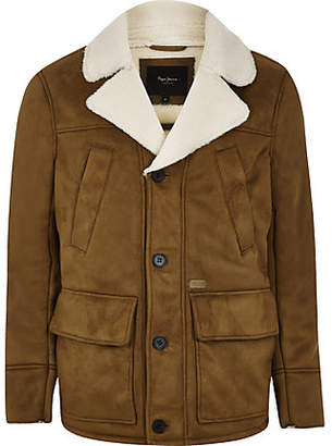 River Island Pepe Jeans brown fleece line jacket
