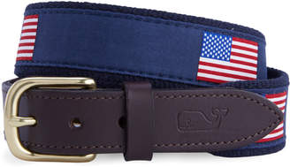 Vineyard Vines Boys American Flags Canvas Club Belt