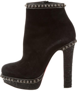 Christian Louboutin Christian Louboutin Suede Embellished Ankle Boots