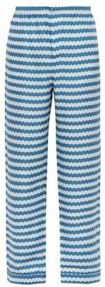 All At Sea - Wave Print Silk Pyjama Trousers - Mens - Blue