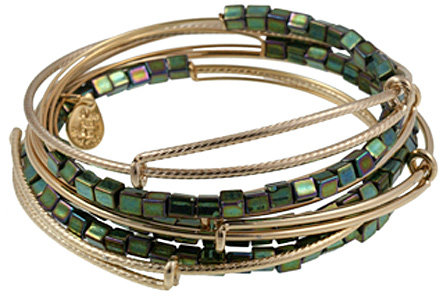 Alex and Ani Malachite Lustre Bead 7 Expandable Bangles Set